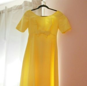 60s pastel yellow prom/formal maxi dress